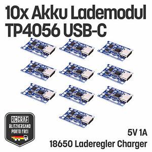 10x Akku Lademodul 5V 1A TP4056 USB C 18650 Laderegler Charger Schutzschaltung