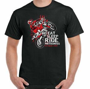 Motocross T-Shirt Eat Sleep Dirt Bike Scrambler MotoX Motorbike Biker Mens Funny