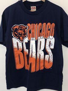 Vintage Chicago Bears T Shirt Mens Large Blue Large Logo Single Stitch Logo