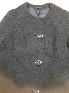 1950's Cosy Scottish Hand Woven Pure Wool Collarless Coat Size 12