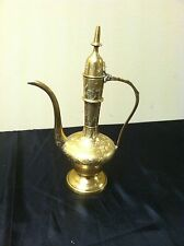 VINTAGE SARNA Turkish Pitcher INDIA BRASS TEA POT Hinged Lid LIDDED