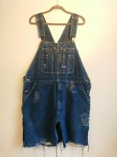 Big Smith Blue Denim Dungarees Shorts Size W 38 40 Approx UK 16 18 20 22 Overall