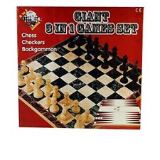 Giant Chess, Checkers and Backgammon 3 in 1 Games Set (Multi-Colour)-08818