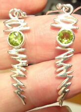 Superb Dangly Sterling Silver and Peridot Lightning Bolt Ear Rings