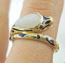 Antique 18ct gold opal, ruby blue enamel snake ring size M 4.81 grams stunning