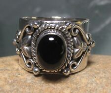 925 sterling silver black onyx wide band ring UK L¾-M/US 6.25
