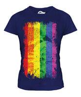 GAY PRIDE GRUNGE FLAG LADIES T-SHIRT TEE TOP RAINBOW LGBT GIFT CLOTHING CLOTHES