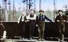 Lumberjacks, Sky Pilots, Antique Magic Lantern Glass Photo Slide