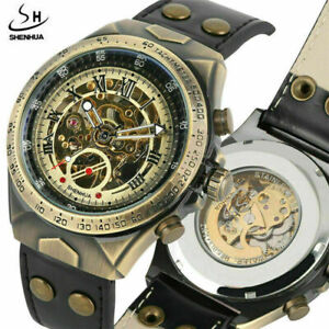 Classic SHENHUA Automatic Mechanical Mens Watch Skeleton Leather Band Watches