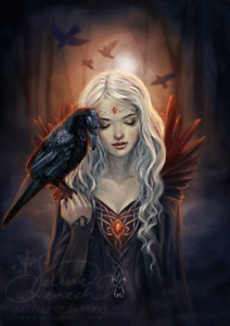 GOTHIC ART RAVEN KIN - 3D FANTASY PICTURE PRINT LARGE 300mm X 400mm (NEW)