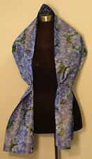 BLUE WITH A DASH OF GREEN FLORAL TAFFETA 1960's SHAWL. ORIGINAL VINTAGE.