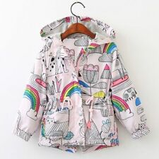 Girls Hooded Jacket Casual Coat with Rainbow Print