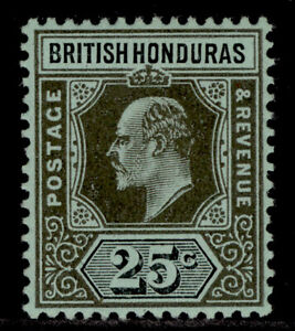 BRITISH HONDURAS EDVII SG100, 25c black/green, VLH MINT.