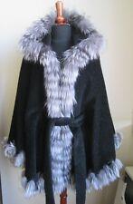 Women's Brand New 100% Pure Alpaca & Silver Fox Fur Black Wrap Cape  WOW