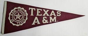 "Vintage 1950s Texas A&M Aggies Football Pennant 11x28"" 74195"