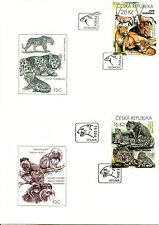 Czech Republic 2016 FDC Zoos 4v on 4 Covers Rhinos Lions Horses Wild Dogs Stamps