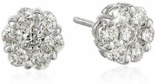 14KT WHITE GOLD EARRING WITH GENUINE  NATURAL DIAMONDS 0.33 CARATS.