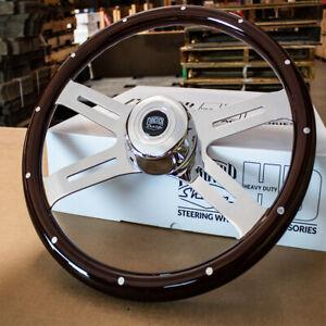 """4 Spoke Steering Wheel 18"""" Dark Wood with Rivets Kenworth Peterbilt Hub Included"""