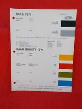 1971  Saab .paint chip color code  chart  vintage old  European card
