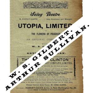 1893 1st Utopia Limited Savoy Theatre programme Gilbert & Sullivan D'Oyly Carte