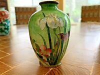"Antique/Vintage Japanese Cloisonne Foil Vase.Floral Scene 3.5 x 2.5""diameter"
