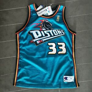 GRANT HILL CHAMPION JERSEY AUTHENTIC ROOKIE GOLD LOGO DETROIT PISTONS BNWT SZ 48