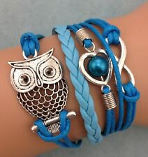 NEW Fashion Jewelry Handmade Blue OWl Heart Tibet silver Leather Bracelet SLY04