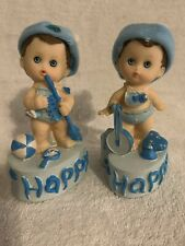 Set Of 2, Vintage, Happy Boy Ceramic Figure With Banjo And Other With Trumpet