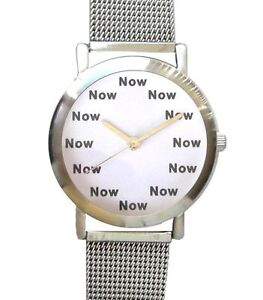 """""""NOW"""" Is The Time On The Unisex Size Watch With White Dial & S.S. Mesh Band"""