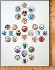 Card of 30 ANTIQUE STUD BUTTONS, Beautiful 1800s Painted Porcelain, Award Winner