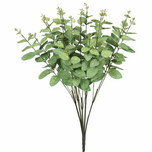 "Vickerman 9"" Frosted Green Eucalyptus Bush Artificial Plastic Greenery FA173501"