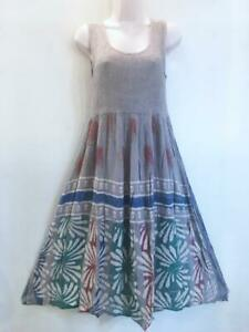 Sacred Threads Hippie Boho Festival Tie Dye Batik Block Print Dress 219326