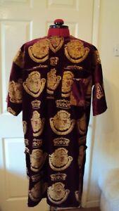 "Nigerian Igbo Traditional Groom Men's ""Isi Agu"" Loose Shirt / Top Burgundy - M"