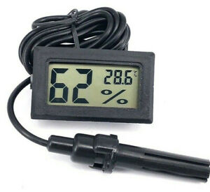 Thermometer Humidity Meter with Probe for Hydroponic Grow Rooms