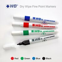 Dry Erase Markers Pens Thin Slim Fine Tip Board Whiteboard Wipe Clean ✔4 Colours