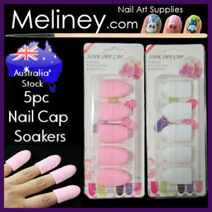 5pc Silicone nail soak off soaker caps polish remover tool gel acrylic clips