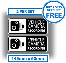 2 x Vehicle Camera Recording Stickers Dash Cam Video Warning Vinyl Decals
