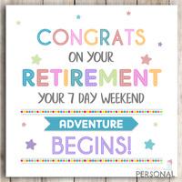 Sorry You/'re Leaving Travelling : PERSONALISED CARD Retiring//Leaving :