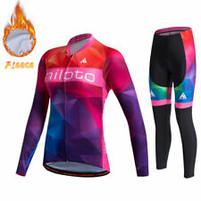 Women's Thermal Fleece Cycling Jersey Pants Kit Ladies Bicycle Winter Clothing