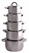 10 Pc Stainless Steel STOCKPOT Set Cookware Casserole Pan Lids Hob Induction New