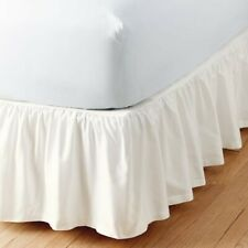 The Company Store Simple Tuck 14 in. Gathered Solid White Twin Bed Skirt