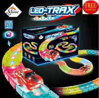 MAGIC GLOW IN THE DARK TRACK SET WITH COLOUR CHANGING LED LIGHTS ON TRACKS LED