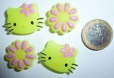 Damen Mädchen Hello Kitty Katze Schuh Charm Clogs Jibbitz Pin LEUCHTEN Glow NEU