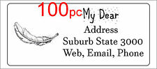 100 Personalised return address label custom mailing sticker 56x25mm feather