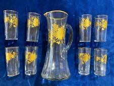 Art Nouveau 8 verres et grande carafe décor de roses dorées