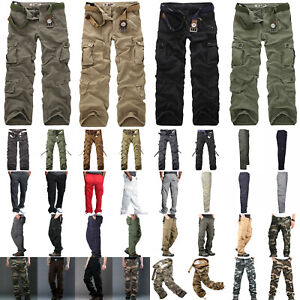 UK Mens Cargo Tactical Trousers Combat Casual Military Army Hiking Pants Outdoor