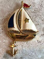 Vintage Signed Avon Gold Tone Enamel Sail Boat Anchor Charm Nautical Brooch Pin