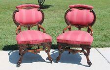 Pr~Walnut Victorian Ebonized & Inlay Parlor Chairs w Hairy Paw Feet Herter Bros.
