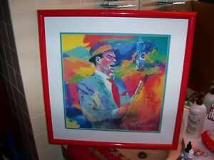 fab red framed Frank Sinatra Leroy Neiman Duets lithograph 26 x 26 rare/special!