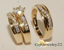 Diamond Wedding Trio Set 14K Yellow Gold Matching His Her Engagement Bridal Ring